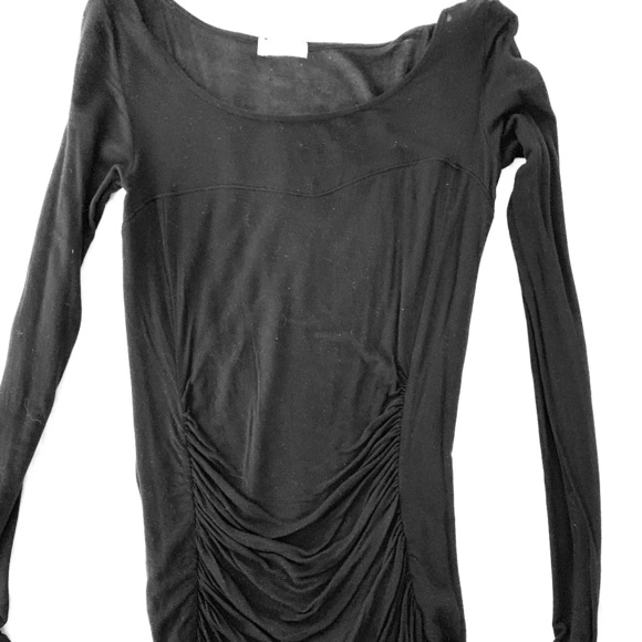 hinge Tops - Hinge black ruched top with mesh. Size S